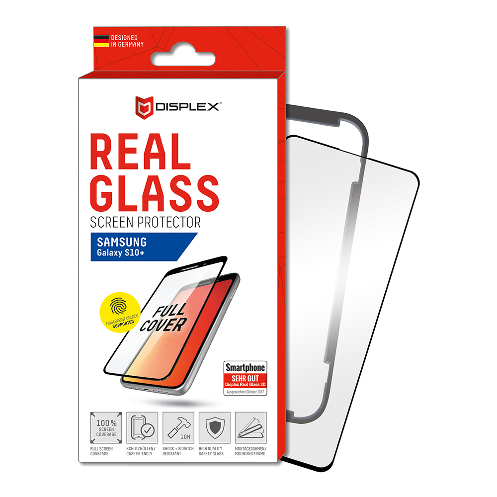 Displex Real Glass 10H Protector 3D Full Cover FPS with TPU Case for Samsung Galaxy S10 Plus (black)