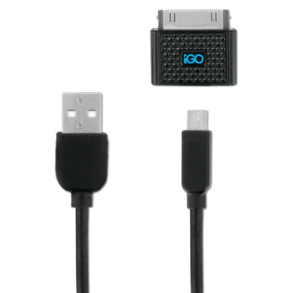 iGo Charge & Sync USB Cable for devices with microUSB, miniUSB and 30-pin Dock connector (120 cm) (black)