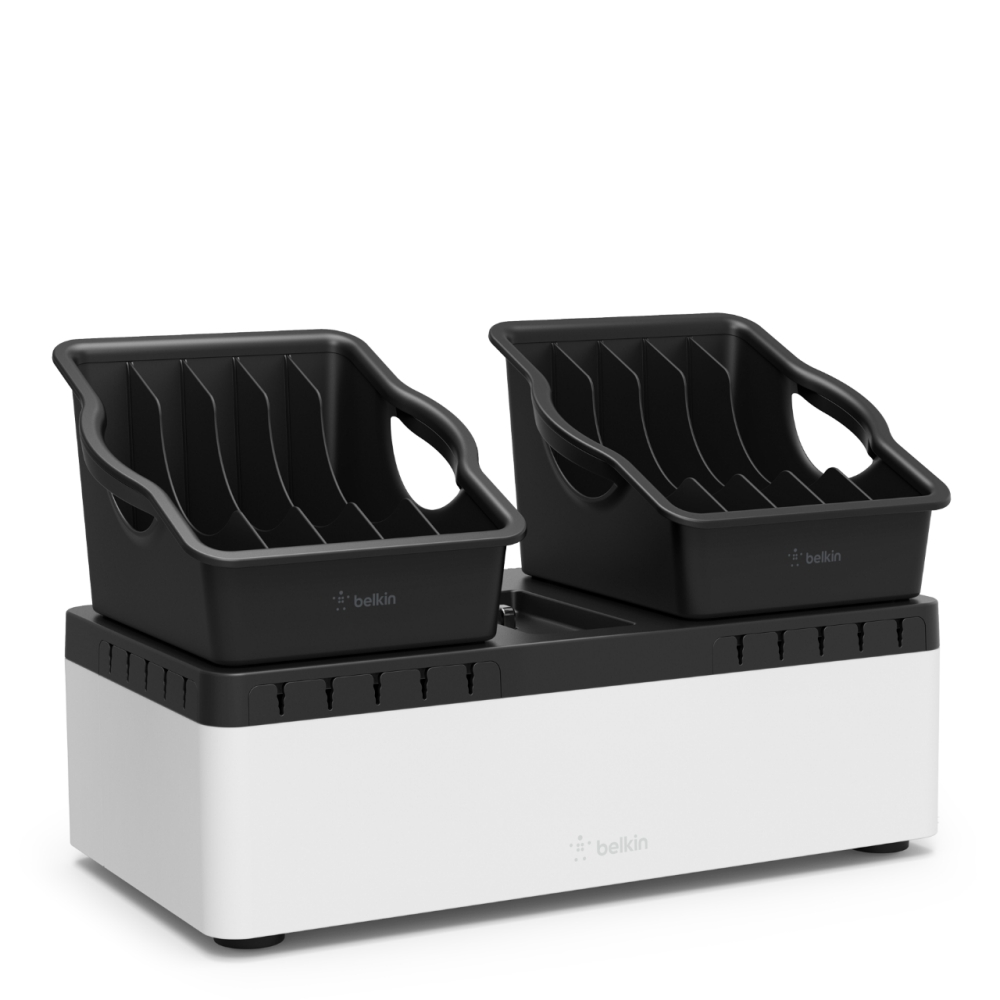 Belkin Store and Charge Go with 10 Portable Trays - 10-портова USB зареждаща станция (черен-сребрист)