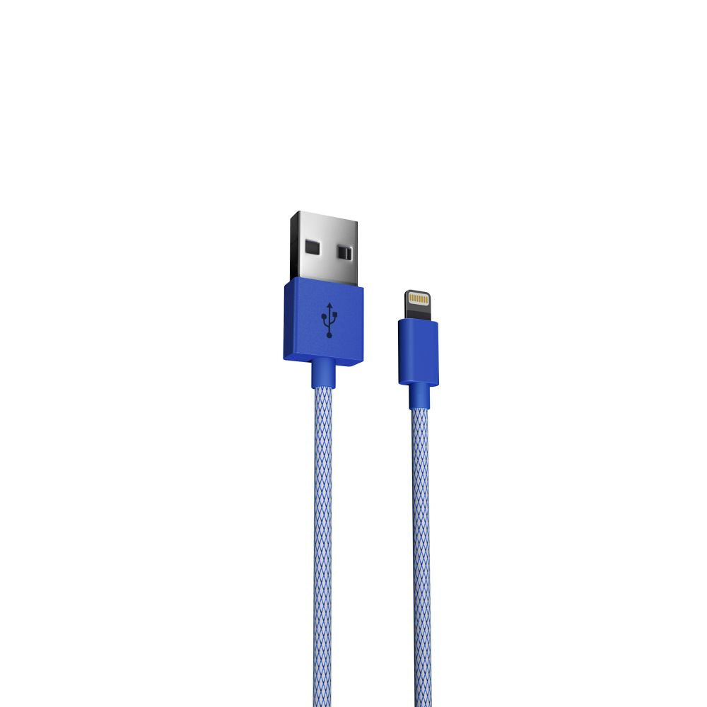 Just Wireless Lightning Mesh USB Cable - USB кабел за iPhone, iPad и устройства с Lightning порт (180 см) (син)