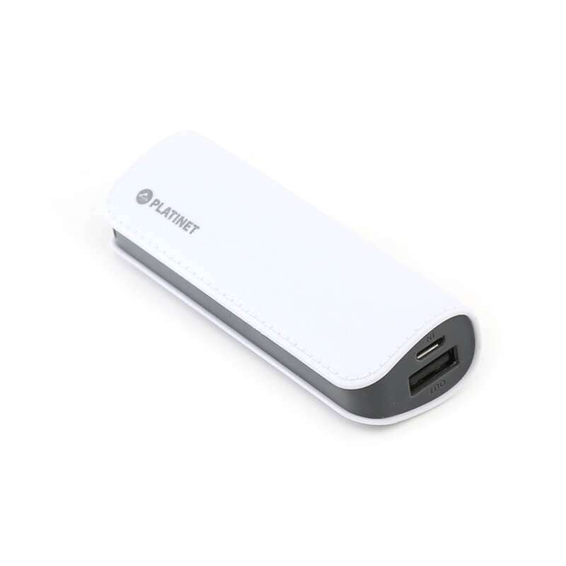 Platinet Power Bank Leather 2600mAh + microUSB cable (white)