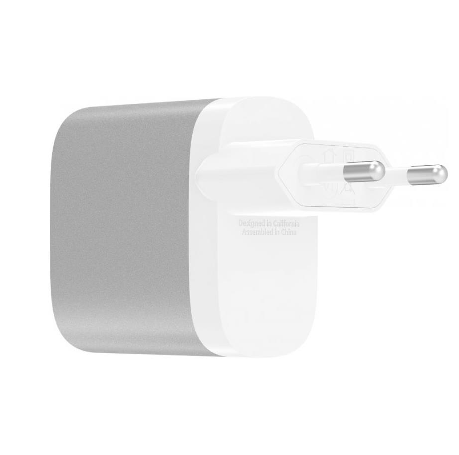 Belkin 27W + 12W USB-C/A Dual Home Charger - захранване с USB-C изход (15W) и 1 x USB-A (12W) изход (сребрист)