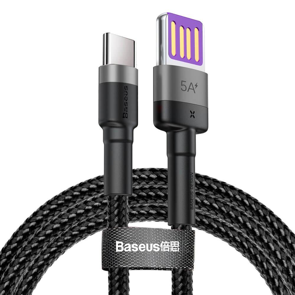 Baseus Cafule Quick Charge USB-C Cable - кабел с въжена оплетка и бъроз зареждане за устройства с USB-C порт (100 см) (черен)