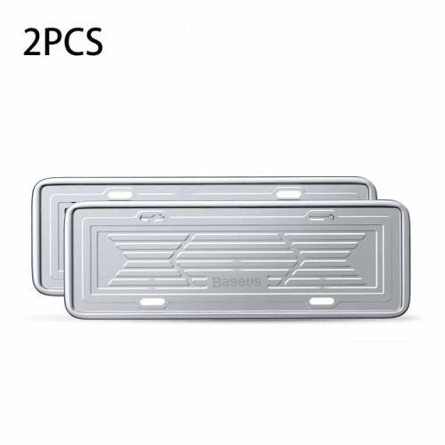 Baseus Stainless Steel Car License Plate Holder - 2 броя стоманен държач за регистрационния номер на автомобил (сребрист)