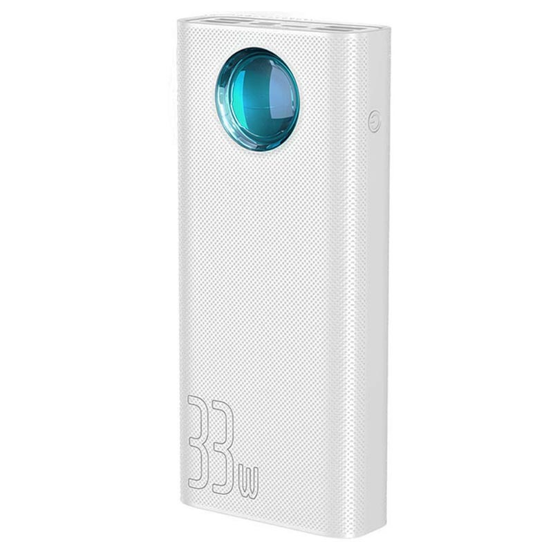Baseus Amblight Power Bank with Digital Display Quick Charge - 30000mAh, 33W - Type-C, 4xUSB (white)