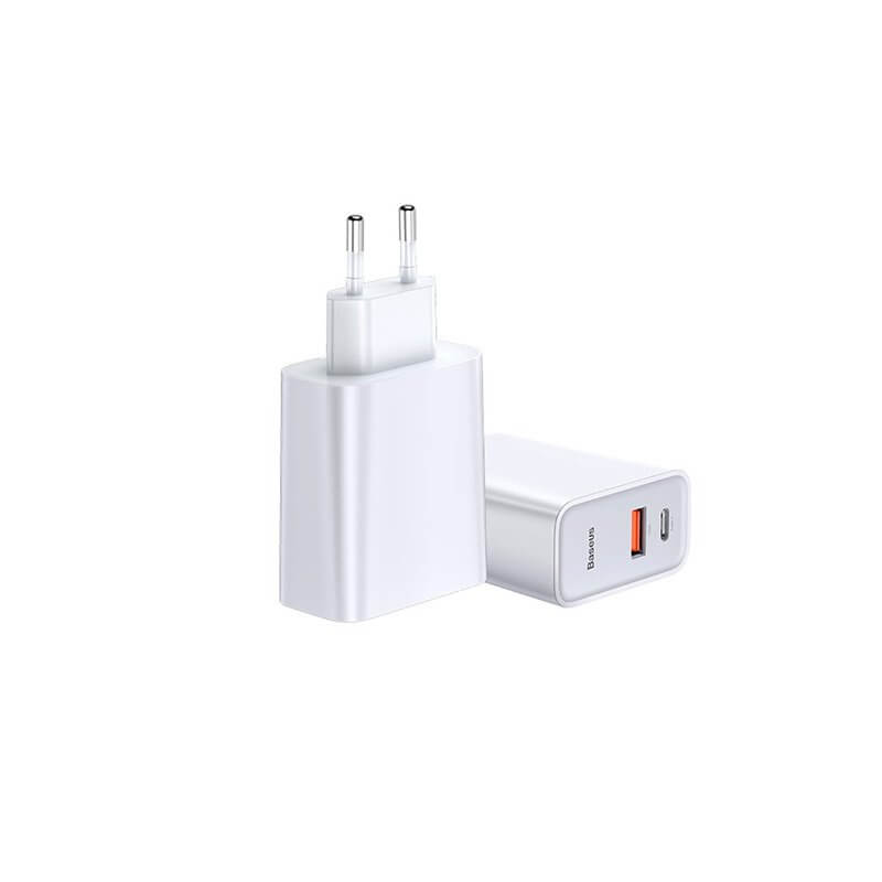 Baseus Dual USB & USB-C QC 3.0 Wall Charger 30W (white)