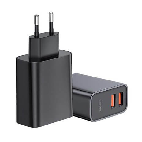 Baseus Dual USB QC 3.0 Wall Charger 30W (black)