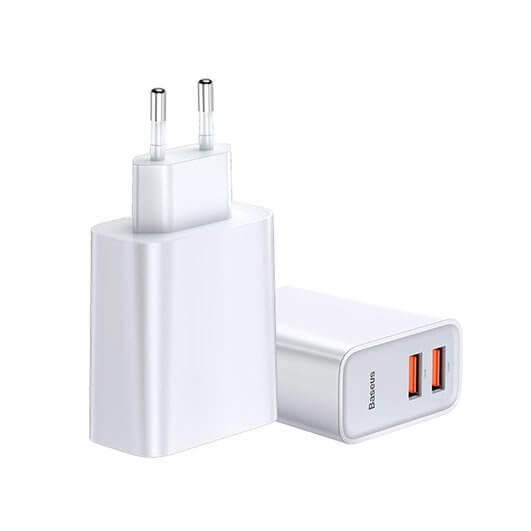 Baseus Dual USB QC 3.0 Wall Charger 30W (white)