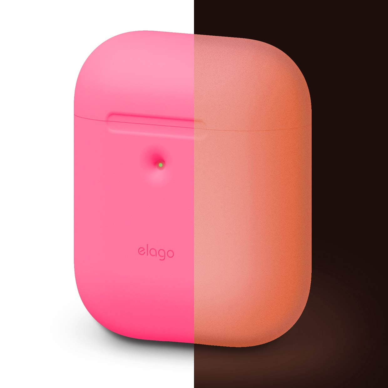 Elago Airpods Silicone Case - силиконов калъф за Apple Airpods 2 with Wireless Charging Case (розов-фосфор)