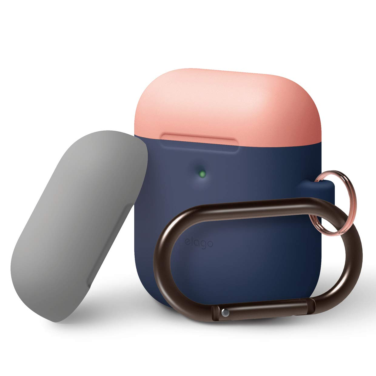 Elago Airpods Duo Hang Silicone Case - силиконов калъф за Apple Airpods 2 with Wireless Charging Case (тъмносин-оранжев)