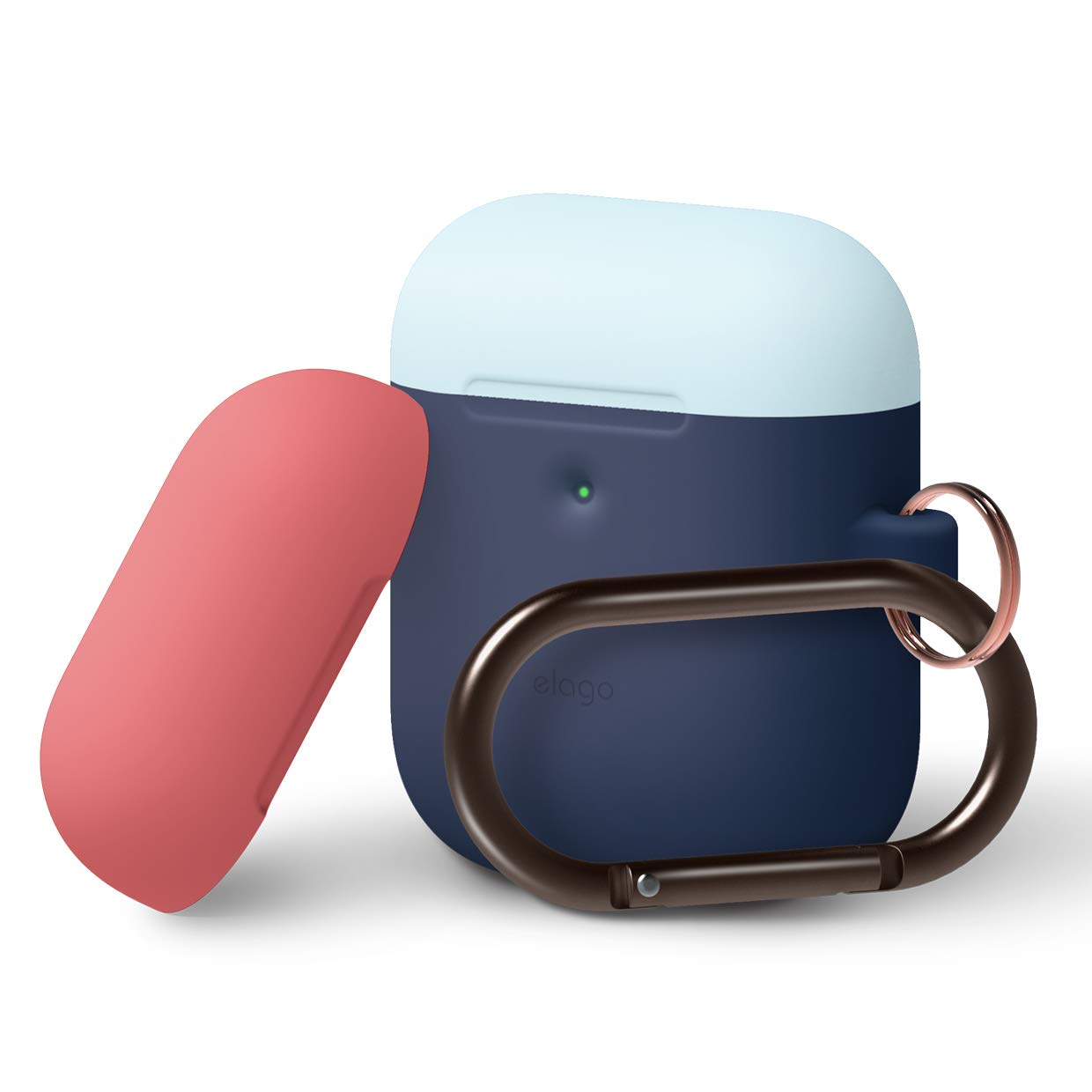 Elago Airpods Duo Hang Silicone Case - силиконов калъф за Apple Airpods 2 with Wireless Charging Case (тъмносин-светлосин)