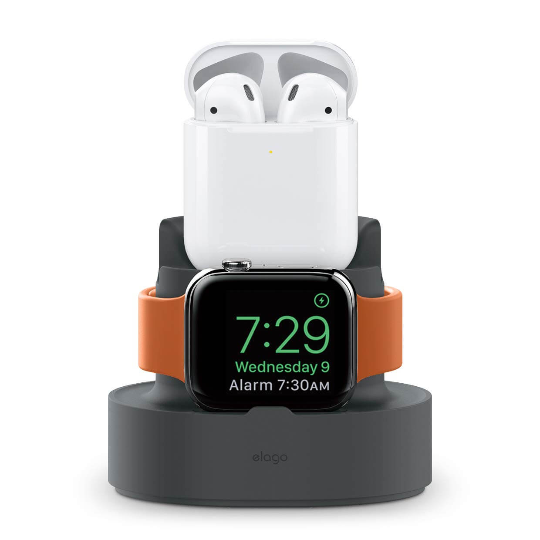 Elago Duo Charging Hub - силиконова поставка за зареждане на iPhone, Apple Watch и Apple AirPods (тъмносива)