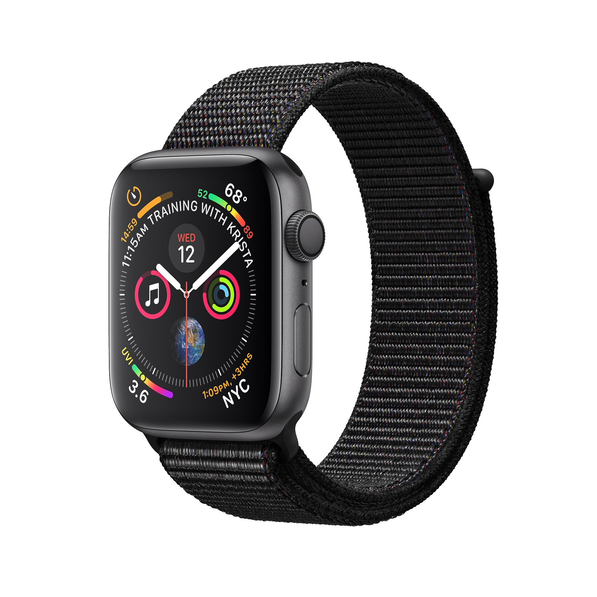 Apple Watch Series 4, 40mm Space Grey Aluminum Case with Black Sport Loop  - умен часовник от Apple