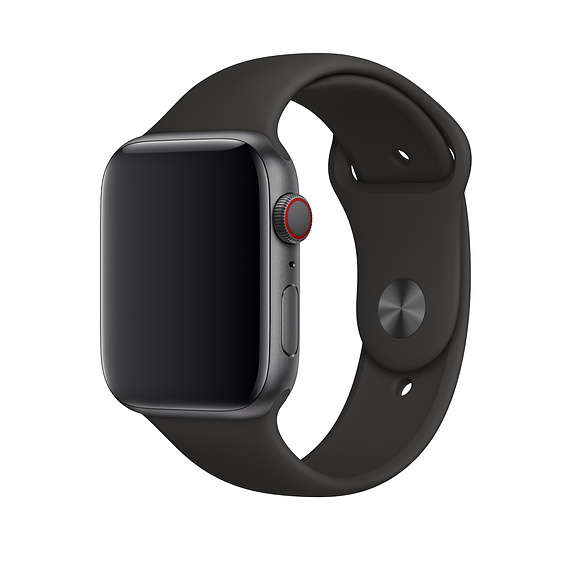 Apple Sport Band S/M & M/L - оригинална силиконова каишка за Apple Watch 42мм, 44мм (черен) (retail)