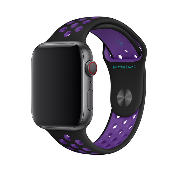 Apple Watch Nike+ Sport Band - оригинална силиконова каишка за Apple Watch 38мм, 40мм (черен-лилав)