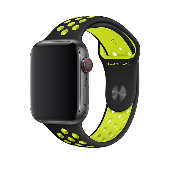 Apple Watch Nike+ Sport Band - оригинална силиконова каишка за Apple Watch 42мм, 44мм (черен-жълт)