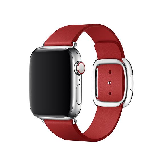 Apple Modern Buckle Band Large - оригинална кожена каишка за Apple Watch 38мм, 40мм (червен)