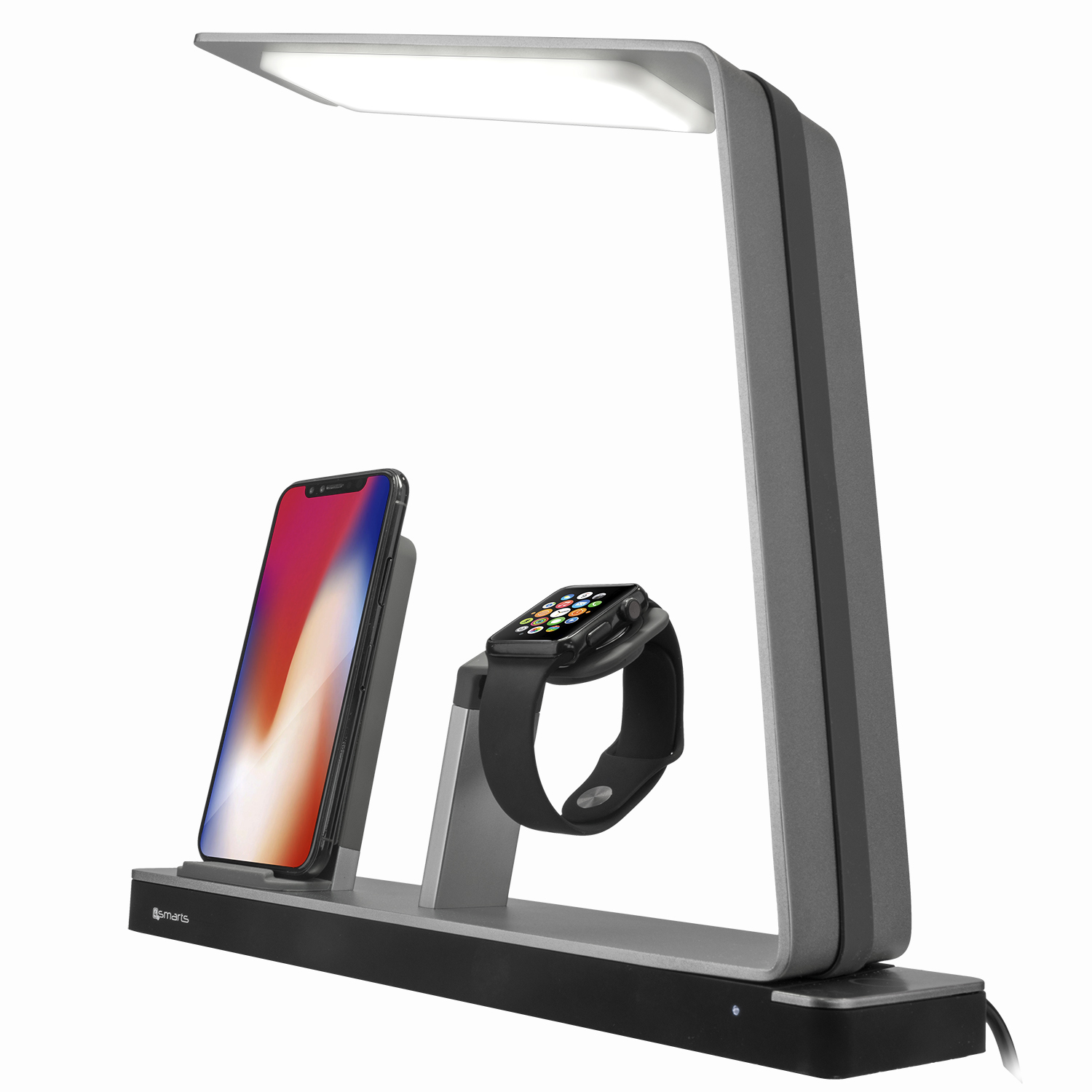 4smarts Inductive Charging Station with LED Lamp TwinDock Wireless - поставка за безжично захранване за iPhone и Apple Watch с LED лампа (черен)