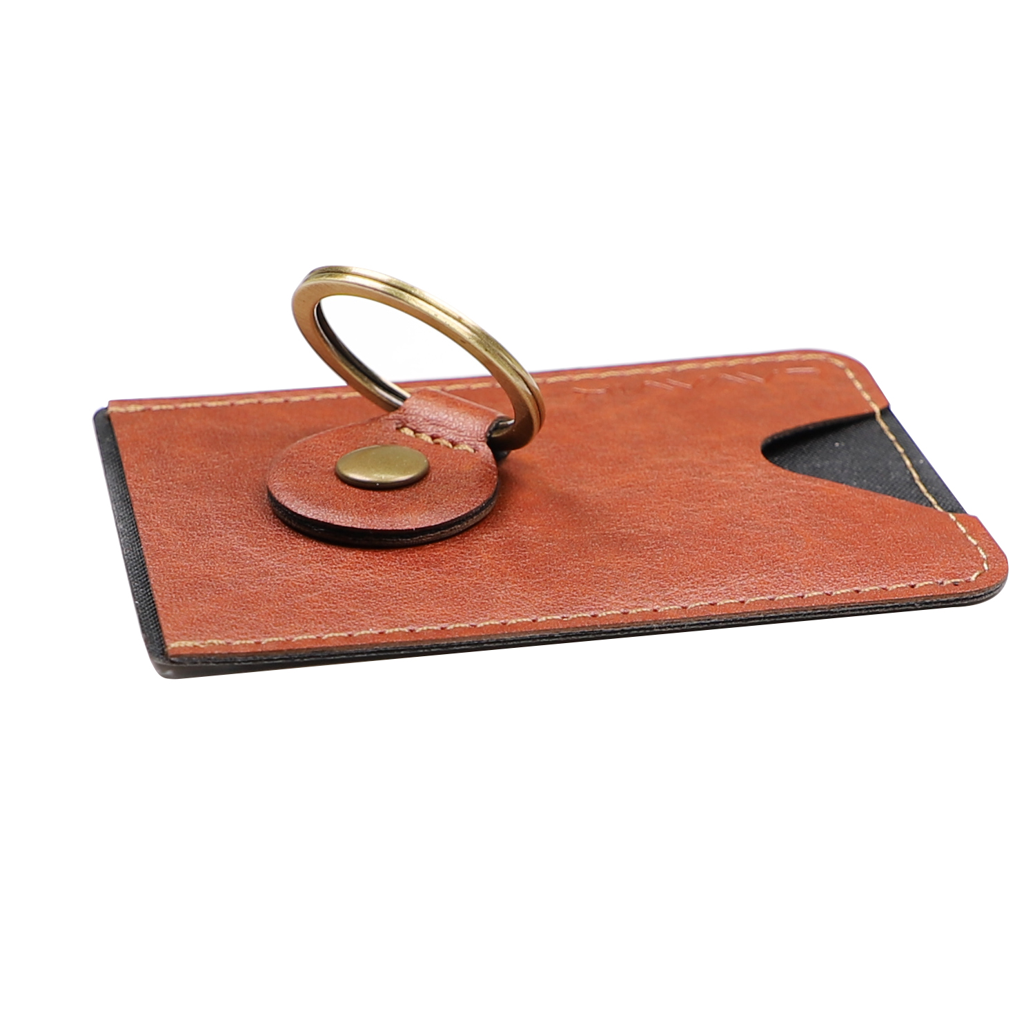 4smarts LAVAVIK Card Holder with Finger Ring and Stand Function (brown)