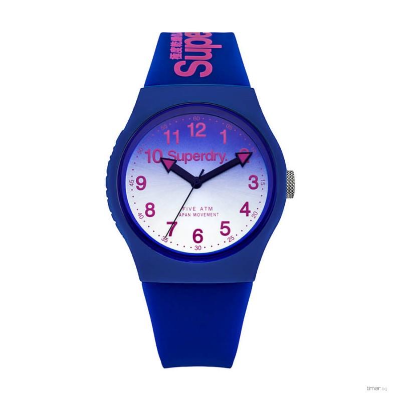 Superdry Men's Analogue Quartz Watch - мъжки часовник със силиконова каишка (син)