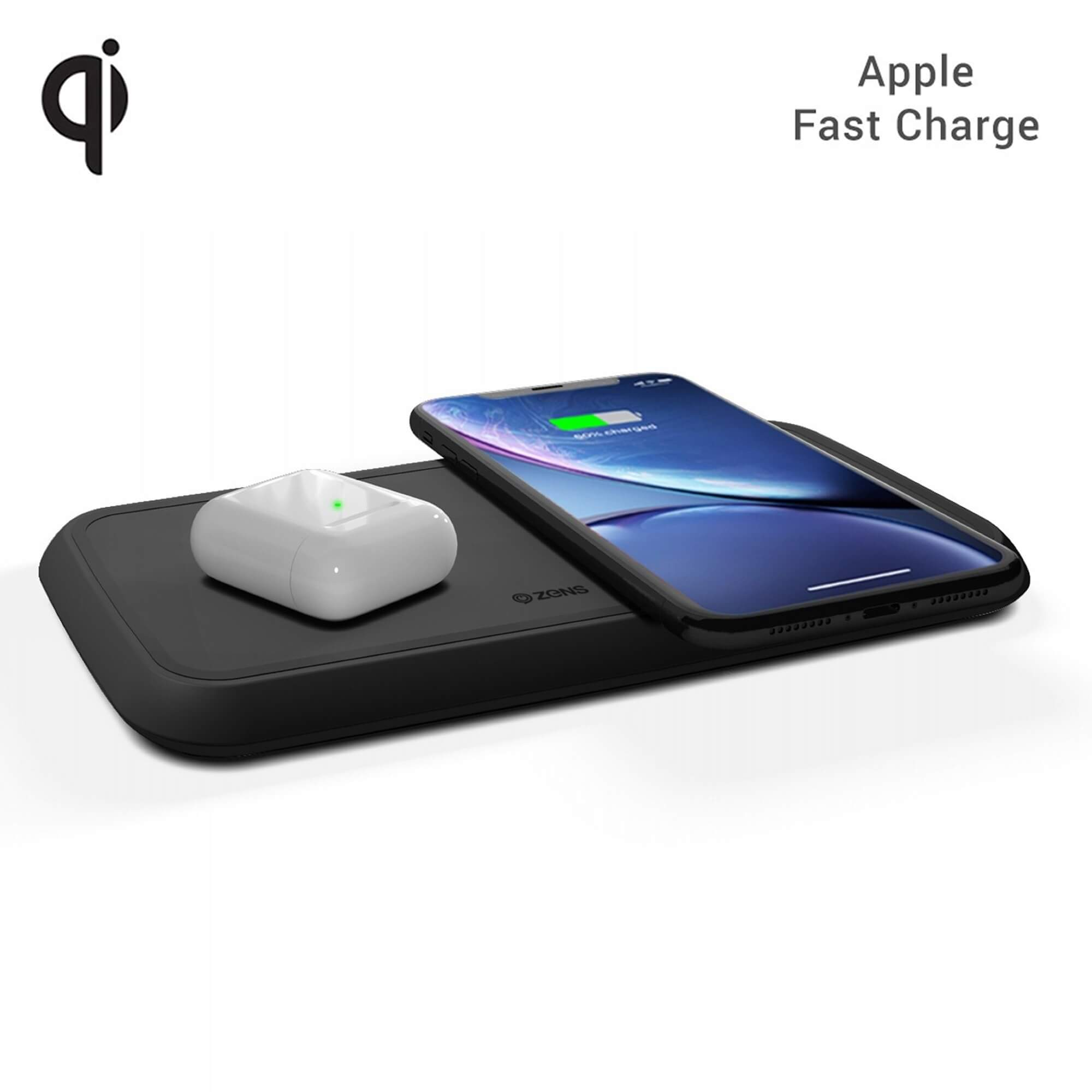 Zens Dual Wireless Charger 10W with Power Supply (EU/UK/US) ZEDC02BP (black)