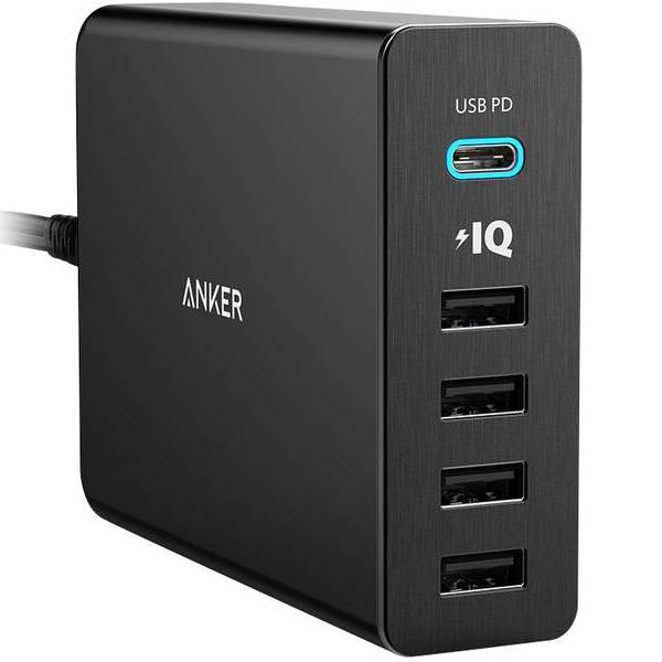 Anker PowerPort+ 5 Ports (60W) with USB-C PD Wall Charger (black)
