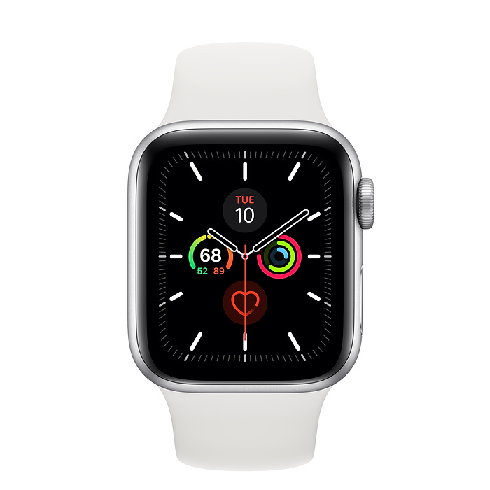 Apple Watch Series 5 GPS, 40mm Silver Aluminium Case with White Sport Band - умен часовник от Apple
