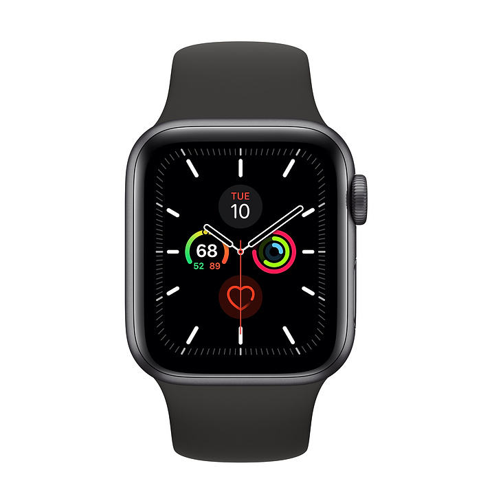 Apple Watch Series 5 GPS, 40mm Space Grey Aluminium Case with Black Sport Band - умен часовник от Apple