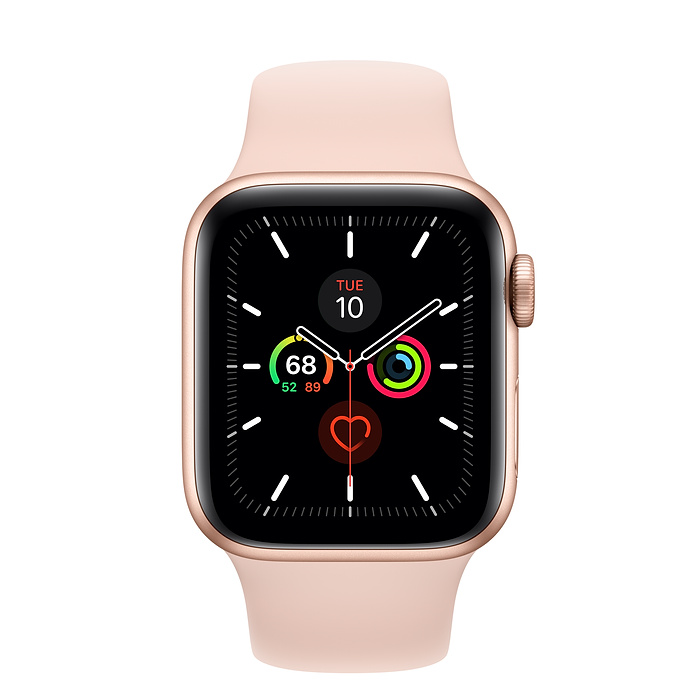 Apple Watch Series 5 GPS, 44mm Gold Aluminium Case with Pink Sand Sport Band - умен часовник от Apple