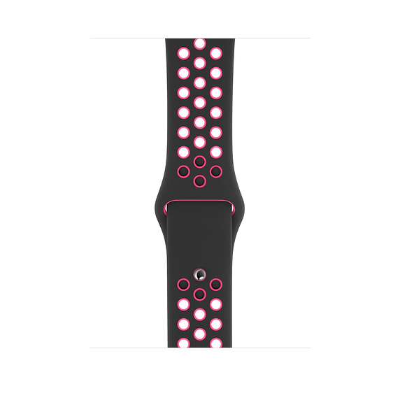 Apple Watch Nike Sport Band - оригинална силиконова каишка за Apple Watch 42мм, 44мм (черен-розов)