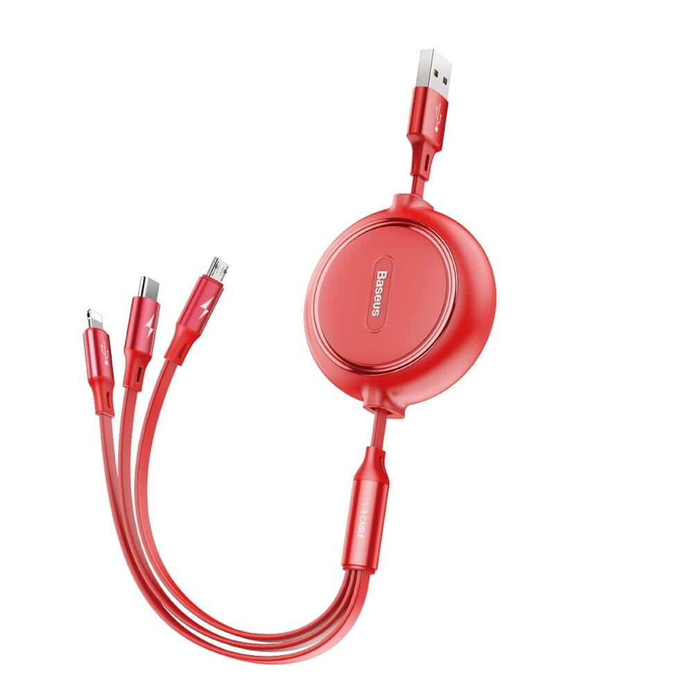 Baseus Golden Loop 3-in-1 Elastic USB Cable with micro USB, Lightning and USB-C connectors (120 cm) (red)