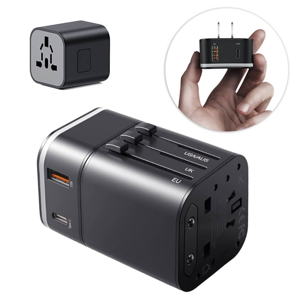 Baseus Removable 2in1 Wall Charger + Universal Travel Adapter EU UK USA/AUS 18W USB USB-C 3A (black)