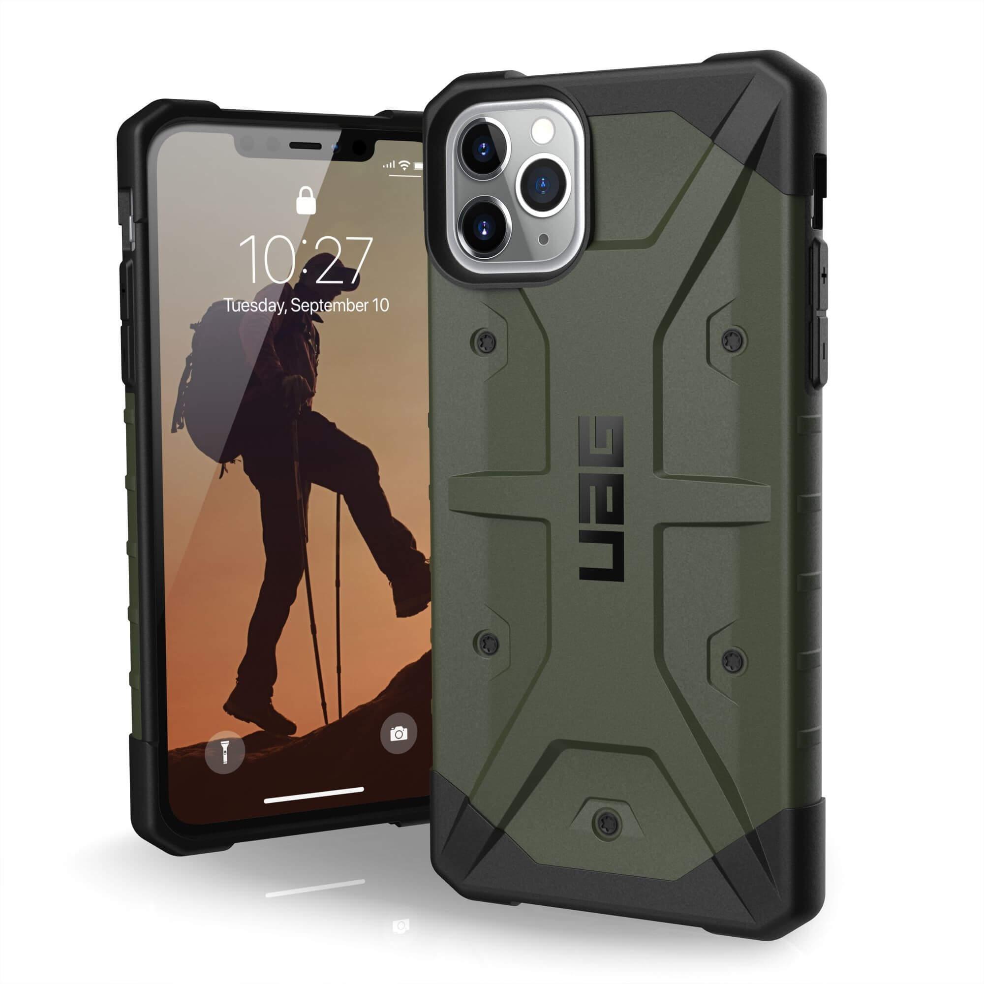 Urban Armor Gear Pathfinder - удароустойчив хибриден кейс за iPhone 11 Pro Max (тъмнозелен)