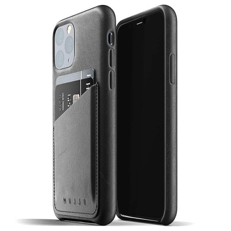 Mujjo Leather Wallet Case - кожен (естествена кожа) кейс с джоб за кредитна карта за iPhone 11 Pro (черен)