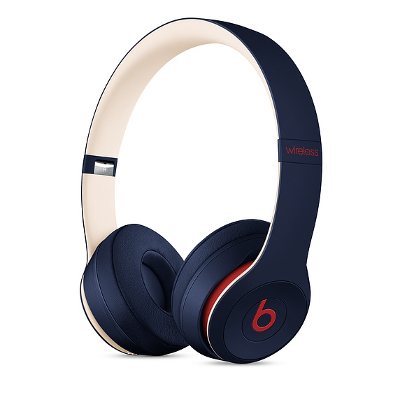 Beats Solo 3 Wireless On-Ear Headphones Beats Club Collection - професионални безжични слушалки с микрофон и управление на звука (тъмносин)