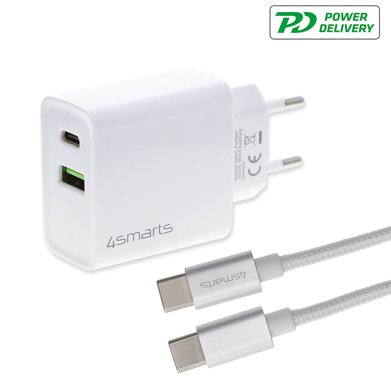 4smarts Fast Wall Charger VoltPlug Dual PD QC 18W with USB-C to USB-C cable (white)