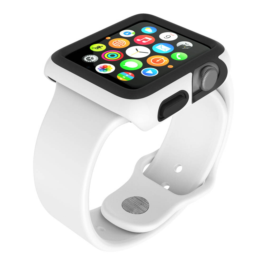 Speck CandyShell Fit Case - удароустойчив хибриден кейс за Apple Watch 38 mm (бял)
