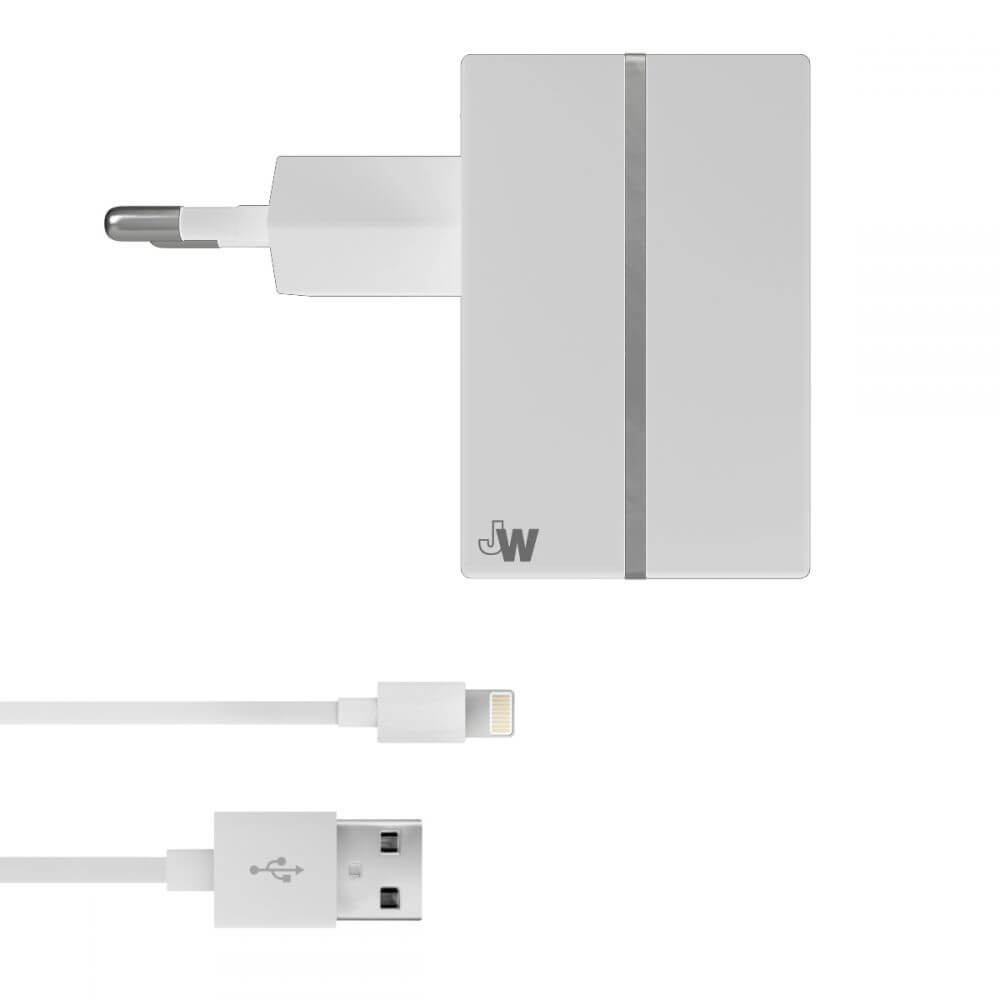 Just Wireless USB AC Charger - захранване за ел. мрежа с USB изход 2.4A и Lightning кабел за iPhone, iPad и устройства с Lightning порт (бял)