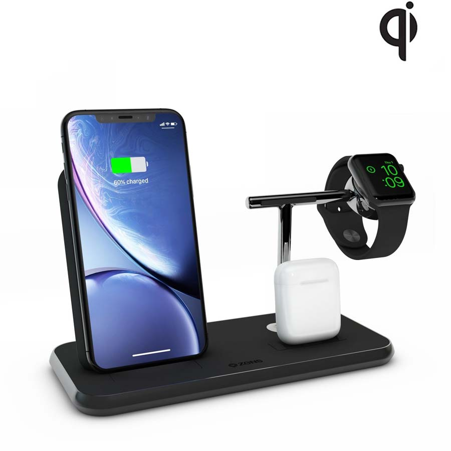 Zens Aluminium Stand + Apple Watch + Dock ZEDC07B/00 (black)