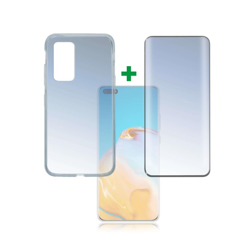 4smarts 360° Case Friendly Premium Protection Set - тънък силиконов кейс и стъклено защитно покритие за дисплея на Huawei P40 Pro (прозрачен)