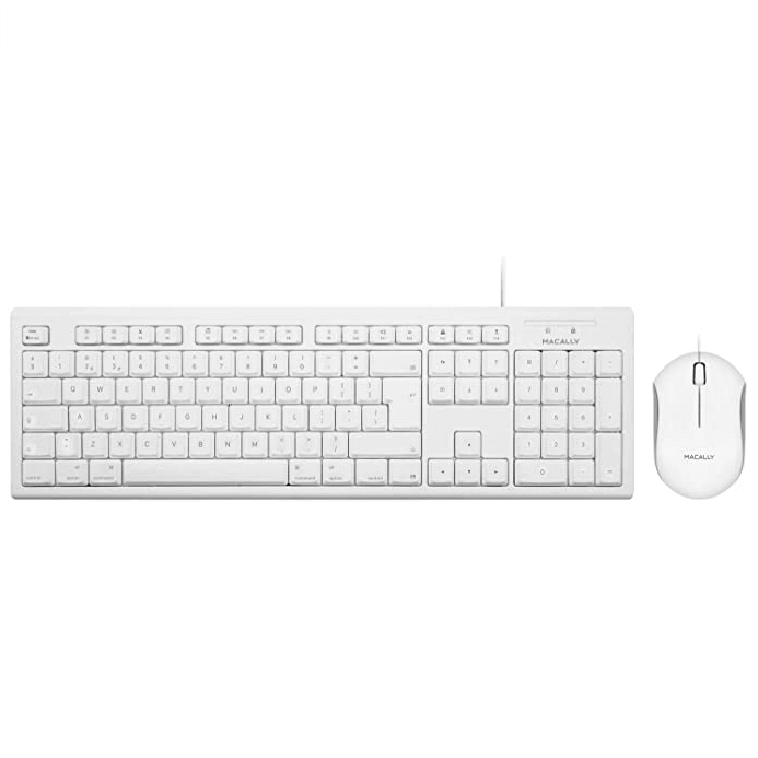 Macally 105 Key Extended Keyboard With Optical Mouse -  комплект USB клавиатура и USB мишка за Mac и PC (бял)