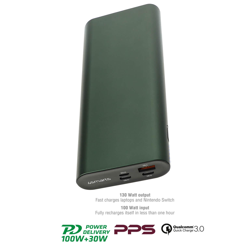4smarts Power Bank Enterprise 2 20000mAh 130W with Quick Charge and PD - външна батерия с USB-C изход и технологии за бързо зареждане (тъмнозелен)