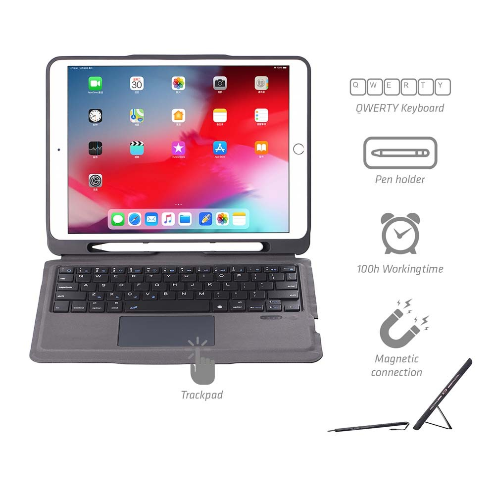 4smarts Keyboard Case Solid QWERTY with Trackpad and Pen Holder - кожен калъф с клавиатура, тъчпад и поставка за Apple Pencil за iPad 8 (2020), iPad 7 (2019) (сив)