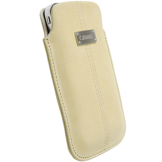 Krusell Luna Pouch XXL Nubuck - кожен калъф за HTC Sensation, Galaxy S2, LG Optimus, Nokia Lumia, HTC Desire 500, Moto G и др. (бежов)