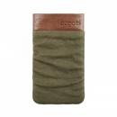 Bugatti Elements Twice Slim Case - кожен калъф (канвас и естествена кожа) за iPhone и мобилни телефони (зелен)