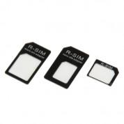 Noosy Nano Sim Adapter Set - комплект адаптери за мобилни устройства с нано и микро сим (черен)