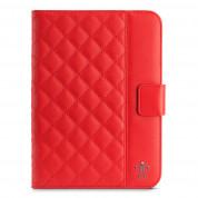 Belkin Quilted с Auto Wake - кожен/полиутеранов калъф с поставка за iPad Mini, iPad mini 2, iPad mini 3 (червен)