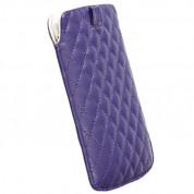 Krusell Avenyn Mobile Pouch L Long - кожен калъф за iPhone 5, iPhone 5S, iPhone SE, iPhone 5C и мобилни телефони (лилав) 1
