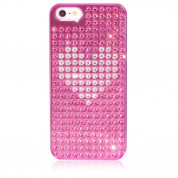 Bling My Thing Heart Extravaganza - кейс с кристали Сваровски за iPhone 5, iPhone 5S, iPhone SE (розов)
