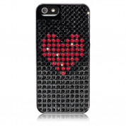 Bling My Thing Heart Extravaganza - кейс с кристали Сваровски за iPhone 5, iPhone 5S, iPhone SE (черен)
